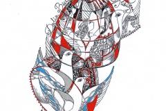 Ausra Capskyte, Exlibris Dalia Bielskyte,  13.5/10 cm, 2018, mixed technique