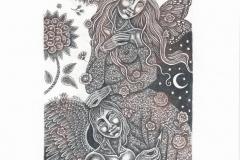 Natalija Cernecva, Exlibris Li Qi ''Amor and Psyche'', C3, 14.7x9.7 cm, 2019