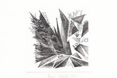 Pawel Delekta, Exlibris Leszka Ogiegly, artist's technique- printed on metal plate, 11x11 cm, 2021