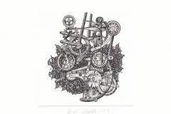 Pawel Delekta, Exlibris Zbigniew Surma, artist's technique- printed on metal plate, 11x11 cm, 2021