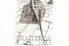 Fabio Dotta, Exlibris ''Cuneo Astrale su Piazza Deserta'', 13/9.4 cm, C4, 2018