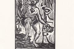 Natalia Gomez, Exlibris Juan Sklar ''El escritor'', X3, 7/11.5 cm, 2020