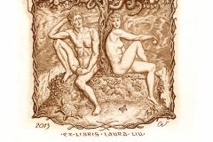 """Victor Guzeniouk, Exlibris Laura Liu """"Adam and Eve"""", 2013, C3"""