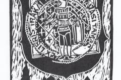 Marton Zsombor Havasi, Exlibris Havasi Tamas ''Gediminids'', X3, 11.5x10.2 cm, 2021