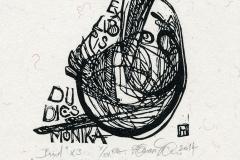 """Tаmas Havasi, Exlibris Du Dics Monika """"Bird"""", 2014, X3"""