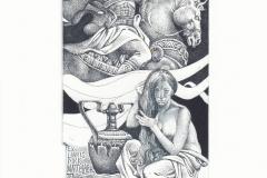 Hristo Kerin, Exlibris Dirk Mattelaer ''Khosrow and Shirin'', C3, C7, col., 145x7.9 cm, 2021
