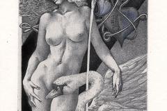"Hristo Kerin, Exlibris Lifutian ""Leda and Swan"", 2012, C3, C5, col."