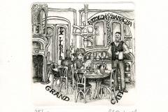 "Karina Kopczynska-Janiszewska, Exlibris Witolda Banacha ""Grand Café"", 2014, C8"