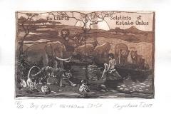 "Tatiana Kryukova, Exlibris  Solstizo d Estate Onlus ""Dry spell"", 10/16 cm, C3, C5, 2017"