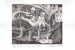 "Tatiana Kryukova, Exlibris Tatiana Poskrebycheva ""Alisa"", 10/13 cm,  C3, C5, 2016"