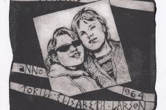 "Torill Elisabeth Larsen, ""Friends Anno - 1964"", 2016, 14/ 14.3 cm, mixed  technique"