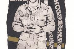 "Torill Elisabeth Larsen, Exlibis Anrian Leonard Rosland ""Soldier 2014"", 16.2/11 cm, mixed technique, 2016"