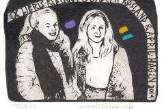 "Torill Elisabeth Larsen, Exlibis Rebekka Elisabeth Rosland and April Hagen ""Cousins"", 9.8/14 cm, mixed technique, 2016"