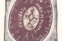 Torill Elisabeth Larsen, Exlibris Mario De Filippis ''Norwegian shaman drum II'', Tm-2-col., 17.4x13.6 cm, 2018