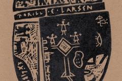 Torill Elisabeth Larsen, Exlibris Torill Elisabeth Larsen ''Norwegian shaman drum'', X3, 15.7x10.7 cm, 2018