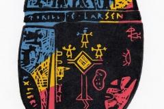 Torill Elisabeth Larsen, Exlibris Torill Elisabeth Larsen ''Norwegian shaman drum'', X3-4, 15.7x10.7 cm, 2018