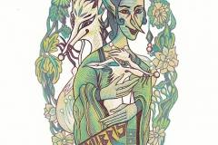 """Qing Liu, Exlibris """"Lady with an Ermine"""""""