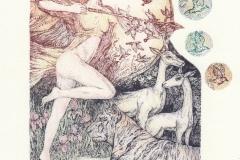 Anastasia Melnikova, Exlibris Nely van de Weerd ''Diana Hunting'', C3, watercolor, 15.5x18.5 cm, 2020