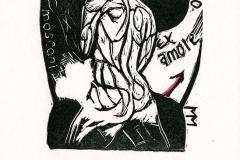 "Marcela Miranda, Exlibris Maurizio Mosconi ""Espejo Rojo"", 2014, X6, col."
