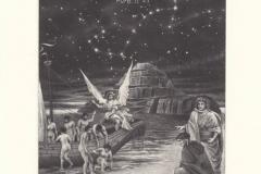 Ivo Mosele, Exlibris Angelo Sampietro Divina Commedia - Purg. II, 43 ''Celestial Nocchiero'', 13.5/10.5 cm, C7, 2019