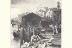 Ivo Mosele, Exlibris Marco Franzetti ''Squero S. Trovaso'', 13/10 cm, C7, 2021