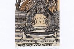 Gladys Munoz, Exlibris Contratalla Art ''Quan Sant Jordi no esta…'', X6/5, 11.6x8.8 cm, 2021