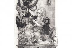 """Maryana Myroshnychenko, Exlibris Nina Myroshnychenko """"Tea party"""", 15/10 cm,  C3, C5, C7, 2016"""