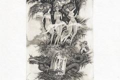 Oleg Naboka, Exlibris Hiroo Yamaguchi ''Three graces'', C3, C5, C7, 13.5x10 cm, 2009