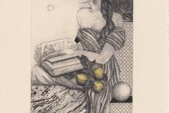 Yulia Prostyshyn, Exlibris Jack van Peer ''In a pear garden'', C3, C5, C7, col., 9.2x17 cm, 2021