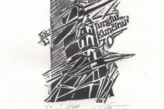 Inga Smitiene, Exlibris Jurgiui Kuncinui 70, 10/14 cm, X3, 2017