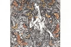 "Marina Terauds, Exlibris Jeffrey Nelson ""Summer solstice"", 17/11.7 cm, C3, col., 2017"