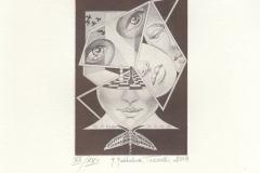 Maria Maddalena Tuccelli, Exlibris Wang Ying ''Transformation'', C2, 7.8x11 cm, 2018