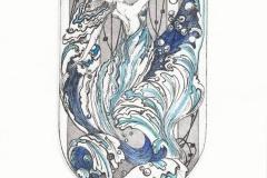 Katarina Vasickova, Exlibris Wei Fan (Zhiyang Xue) ''Water'', C3, C5, col., 15x8 cm, 2021