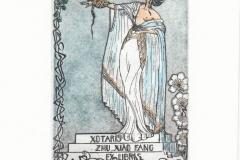 Katarina Vasickova, Exlibris Xotaris + Zhu Xiao Fang ''Eagle'', C3, C5, col., 13x8 cm, 2021