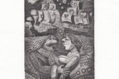 Vladimir Vereschagin, Exlibris Art Gallery Largo ''Promemoria Jordan Petkov, C3, 14.5x11.6 cm, 2021