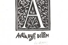 "Gianni Verna, Exlibris Angela Bussi Dillon ""A"", 8/6 cm, X2, 2017"