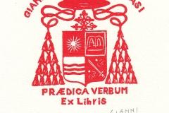 "Gianni Verna, Exlibris Cardinal Ravasi ""Gianfranco Ravasi"", 9.5/9.2 cm, X2, 2017"