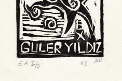 """Guler Yildiz, Exlibris """"Fish"""", X3, 2016"""