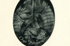 "Patrick Aubert, Exlibris Oya Oejneber ""Fish Family's Portrait"", 2014,  gravure polimer"