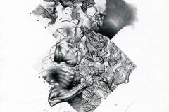 "Petar Chinovsky,  Exlibris Johann Peterhaas ""Da Vinci"", 2014,  12,5/ 8,3 cm, L4 / YOUNG ARTIST'S PRIZE in the first edition of IECV 2014"