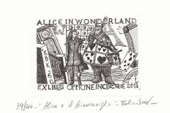 Fabio Dotta, Exlibris ''Alice e il Bianconglio'', 13/10 cm, C3, 2018
