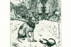 "Gunter Hujber, Exlibris L. Deurinck ""The Guards of Sphinx"", 2013, C2, C4"